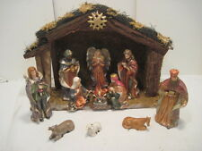 OLD NATIVITY SET WOOD MANGER 12 PC. CERAMIC HOLIDAY SEASONAL CHRISTMAS DECO