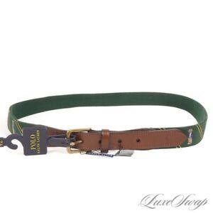 NWT Polo Ralph Lauren Green Repp Stripe College Bear Fabric Mount Ribbon Belt 42