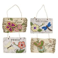 Hanging Garden Sign Plaque Home Butterfly Flowers Gift Welcome Love Peace Hope