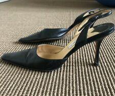 Jimmy Choo Vintage Black Leather sling back mules Size 40