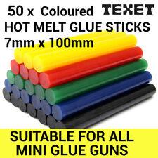 50 x TEXET 7mm Coloured Colour Hot Melt Glue Gun Sticks Adhesive for Hobby Craft