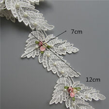 2x Flower Pearl Lace Edge Trim Wedding Bridal Ribbon Embroidered Applique Sewing