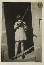 PHOTO ANCIENNE - VINTAGE SNAPSHOT - ENFANT MUSIQUE VIOLON VIOLONISTE - MUSIC