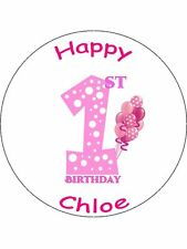 "Novelty Personalised 1st Birthday Pink 7.5"" Edible Wafer Paper Cake Topper"