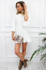 Vestiti da donna tubino bianco con girocollo
