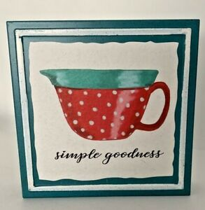 """The Pioneer Woman Simple Goodness Sign Teal Red Dot Cup 6"""" x 6"""" Metal"""