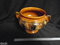 Vintage Mid Century Modern Brown Drip Pot Planter Vase