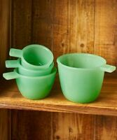 Classic Set of 4 Measuring Cups Vintage Country Jade Green Glass Jadeite Accent