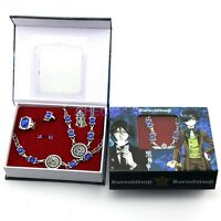 Black Butler Ciel Phantomhive Ring Necklace Earrings set Cosplay accessories