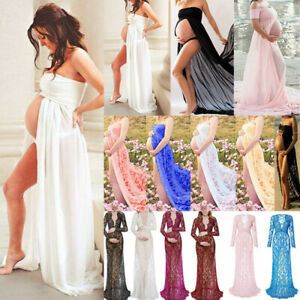 Ladies Pregnant Lace Maternity Party Gown Maxi Dress Photography Photo Shoot AU