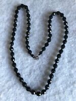 1930s Vintage Glass Necklace Faceted Black Beaded Jewellery Jewelry Retro Old
