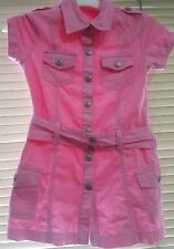 Guess Jeans Original Kids Toddler Pink Dress Cotton 3T/4T Belted Size L ~ryokan