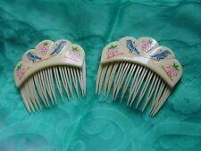 Vintage Goody Hair Combs USA White w/ birds flowers