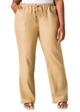 NWT Ashley Stewart Women's Sz 18W Linen Blend Drawstring Pants Cornstalk Beige