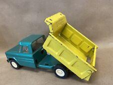 Vintage Structo Kom Pak Trucks Dump Truck Green Yellow Pressed Steel Retro Toy