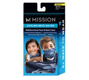 Mission Cooling Neck Gaiter Youth 8+ One Size Blue Matrix Camo Girls Boys UPF 50