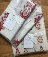 Pottery Barn Jasper Duvet Cover Orange Red King 2 King Shams 3pc Block Print New