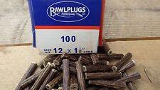 1 BOX 100 NOS GENUINE FIBRE RAWL PLUGS BOXED 1 1/2 x 12 RAWLPUGS FIBER BLUE
