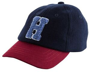 """Carter's Baby """"H"""" Varsity Applique Baseball Hat Cap Stretch Back, 0-3 Months NWT"""
