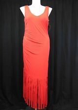 INC International Concepts Plus Size Sleeveless Fringe Maxi Dress 0X Red #4379