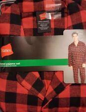 New! Hanes Men's 2pc woven Flannel Pajama Set size L