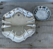 """Vintage Chippendale International Silver Co plated 11"""" Platter And 5"""" Bowl Set"""