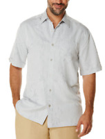 Cubavera Floral Jacquard Short-Sleeve Shirt, Alloy, Size S, MSRP $68