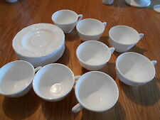 lot of 16 unmarked Harvest Grapevine pattern milk glass cups & saucers (8 sets)