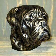 BULLDOGGE BORDEAUX KOPF BÜSTE bronze Patina Garten Deko Tier Figur HUNDEKOPF