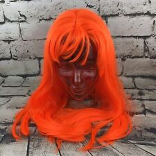 West Bay Womens Synthetic Wig Neon Orange Medium Length W/Bangs Cosplay Dress-Up