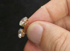 14K Yellow Gold Finish 2Ct Round Moissanite Push Back Solitaire Stud Earrings