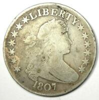 1807 Draped Bust Half Dollar 50C - VG / Fine Details - Rare Early Coin!