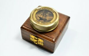 Brass antique compass with wood box
