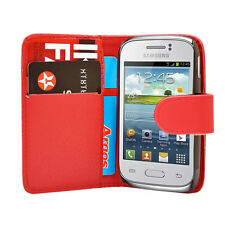 Rot Wallet Leder Case Handy Cover Samsung Galaxy Young GT S-S6310L GT S6310N