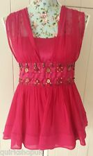 FRENCH CONNECTION red SILK blend beaded top with chiffon straps S 8 36 NEW