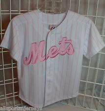 NWT MLB MAJESTIC PINK YOUTH JERSEY - NEW YORK METS - 12/14