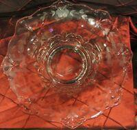 Vintage Clear Glass Bowl. Etched Designs. Unique Floral Design. Candy Dish.