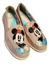 CROCS Walu Disney Minnie Mouse  Loafers Khaki Slip On Canvas Shoes sz 6 M