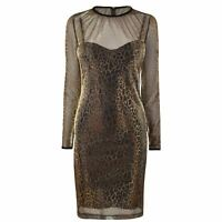 Just Cavalli Metallic Leopard Dress Long Sleeves Womens Ladies UK Size 10 *4