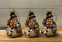 Lot of 3 Fitz And Floyd Blown Glass Frosty Snowman Christmas Tree Ornaments