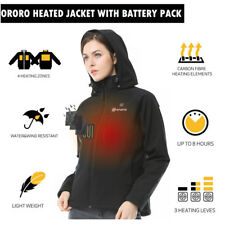 ORORO Women's Slim Fit Black Heated Jacket With Battery Pack Winter Snow Coat