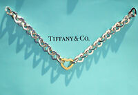 Tiffany & Co 18ct 18K Gold & Sterling Silver Heart Link Bracelet