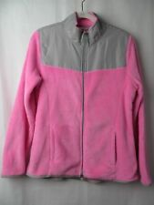 Danskin Now Fleece Jacket 2 Way Zip Front Pink Gray Size L (12-14)  #7246