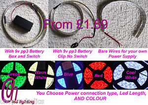 LED STRIP LIGHTS 5050 KITS BATTERY OPERATED 9V & SWITCH OR WITHOUT, DIY CAR