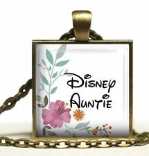 Disney Auntie Glass Top Pendant Necklace Handcrafted Family Statement Jewelry