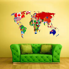 Full Color Wall Decal Sticker World Map Banners Flag Countries (Col347)