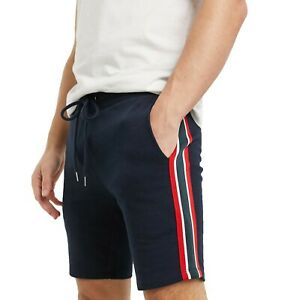 Men's Slim Fit Jersey Shorts Mid Length With Knitted Side Stripe ST01