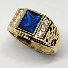 14K solid yellow gold light weight white Topaz Sapphire men's 7x9mm ring size 10