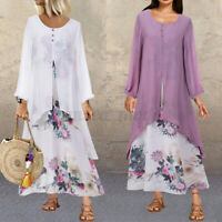 UK Womens Summer Long Sleeve Floral Printed Casual Loose Beach Party Maxi Dress