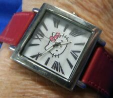 Hello Kitty H3WL 1020 SILVER tone RED band estate WATCH fresh battery 10/20